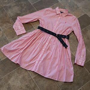 Polo Ralph Lauren girls size 16 belted shirt dress